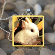 """BABY BUNNY"" EASTER BUNNY RABBIT DAFFODILS GLASS TILE PENDANT NECKLACE KEYRING"