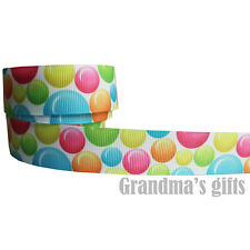 """7/8""""22mm Colorful Bubble Patterns Grosgrain Ribbon 5/50Yards Hairbow Wholesale"""