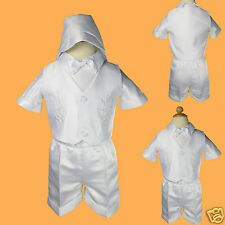 New White Infant Boy Toddler Baby Christening Baptism Outfit size S-4T (0M-4yr)