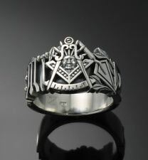 PAST MASTER #001 Sterling Silver Masonic Ring Oxidized Blue Lodge