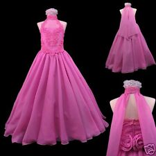 NEW GIRL GLITZ PAGEANT WEDDING FORMAL PARTY FLORAL DRESS Fuchsia 7 8 10 - 14