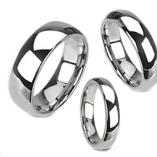 Tungsten Carbide Silver White Polish Dome Band Mens Women's Wedding Ring sz 5-14