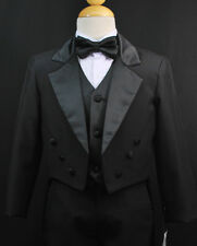 Baby Toddler & Boy Black Formal Tuxedo Suit Set Wedding Party Outfit size S - 20