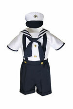 New Navy Nautical Sailor Costume Suit Tuxedo Toddler & Boys Sz: 0-24M 2T 3T 4T