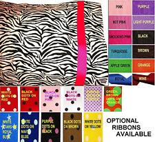 NEW zebra PILLOW CASE w GREEN Hot pink BROWN black AQUA dots RiBBoN CUSTOM