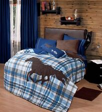 Twin and Full Boys and Teens Polo Horse Comforter Set with Matching Curtains