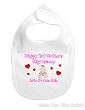 Personalised 1st First Happy Mothers Day Mummy Baby Bib Boy Girl Pink Blue Gift