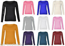 Womens PLUS SIZE Long Sleeve Stretch Casual Plain Round Scoop Neck T Shirt Top