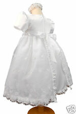 New Baby Girl & Toddler Christening Baptism 3pc Formal Dress ,0M-30M white