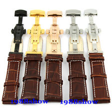 New 18~22 mm White Stitch Brown Black Leather Strap Butterfly Clasp Watch Band