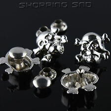LOT DIY Silver Skull Cross Bone Metal Studs Spots Spike Rivets Leathercraft 10mm