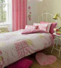 NEW Vintage Britannia Union Jack Patchwork Pink Girls Duvet Cover Curtains Rug