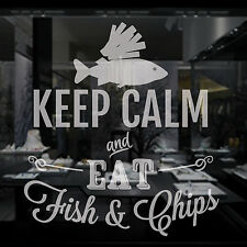 FISH AND CHIPS  - Crystal Frosted Window Film Vinyl Sticker - 2 sizes