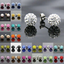 Earring  Czech Crystal Disco Clay Ball Stud Earrings - 8mm 16 Colours