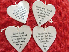 EAST OF INDIA PORCELAIN HANGING HEART FOR FRIENDS FRIENDSHIP INSPIRING WORDS