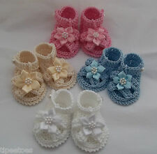 Handmade Baby Girl Crochet Sandals - Cotton Shoes ~ Great for Reborn Dolls too!