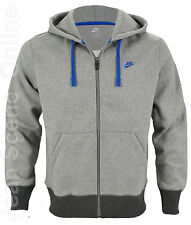 New Nike Mens Full Zip Hooded Jacket Sweatshirt Fleece Lined Hoodie Grey Top