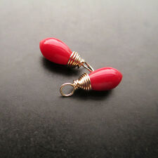 2 Smooth Vibrant Red Natural Coral Gemstone Drops