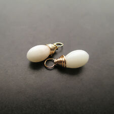 2 Smooth Vibrant White Natural Coral Gemstone Drops