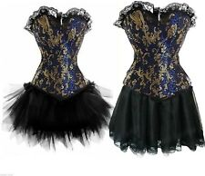 Blue Cabaret Showgirl Can Can Burlesque Corset & Skirt Costume Outfit -Plus Size