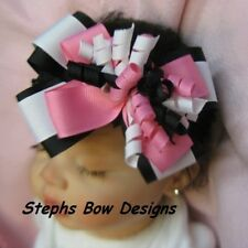 BLACK, HOT PINK & WHITE LAYERED KORKER HAIR BOW HEADBAND SUPER CUTE SPRING FALL
