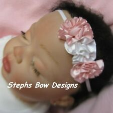 SOFT PINK & WHITE ROSETTES DAINTY HAIR BOW HEADBAND PREEMIE NEWBORN SO CUTE ON