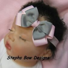 SOFT PINK & GREY GRAY DAINTY LAYERED HAIR BOW HEADBAND EASTER SPRING PREEMIE