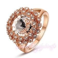 Hot Crystal Cocktail Ring Size 6 7 8 9 Engagement Wedding 18K Rose Gold GP R325