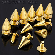 Lot 10mm 3/8 Gold Cone Screwback Metal Studs Leathercraft Rivet Bullet Spikes