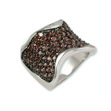 PAVE WIDE FRONT ETERNITY BROWN CZ CUBIC ZIRCONIA RING BRIDAL