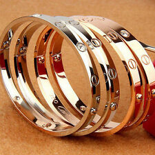 3 Color Stainless Steel Men Women Bracelet Bangle Cuff Screw Driver Nail Style