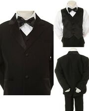 New Teen Boy Black FORMAL Wedding Prom Party Church SUIT Set Tuxedo Suit 16-20