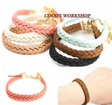 ♥ FRIENDSHIP BRACELETS GOLD VINTAGE ROUND CHARM CHAIN HIPPY COSTUME JEWELLERY