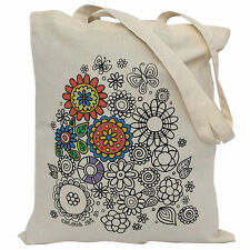 Tote Bag to Colour In ..great unisex craft..100% cotton..Flower Power Design