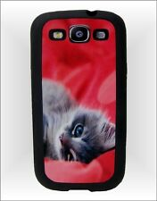 Samsung Galaxy S3 i9300 Cell Phone Rubber Case ~ Kitten Cat on red satin