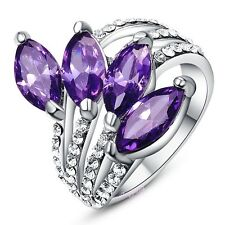 18K white Gold GP Amethyst Crystal Cluster Ring Fashion Women Gift R375