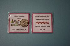 KEEPSAKE PERSONALISED Happy Birthday LUCKY SIXPENCE Sister Sis Gift Present Card