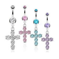 FANCY ICED CROSS DANGLE BELLY NAVEL RING CZ GEM PAVED BUTTON PIERCING JEWELRY