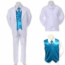 New Boy Kid Formal Wedding Party White Suit Tuxedo + Turquoise Vest Tie Set 5-7