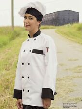 Chef Coats w/Trim, Color & Trim Options, Black Plastic Buttons, Long Sleeve-404