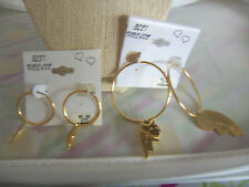 Small or Large Goldtone Pierced Hoop Best Friends Dangle Earrings