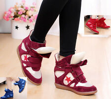 Womens High-TOP Strap Two Tongue VELCRO Sneakers Ladies Wedge Ankle Boots Shoes