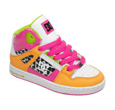 KIDS GIRLS DC REBOUND SKATEBOARDING SHOES NIB FLUORESCENT PINK WHITE     (FPW)