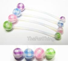 """PTFE Maternity Navel Ring 2"""" Pregnancy Belly Retainer 14GA Baby Gingham Pattern"""