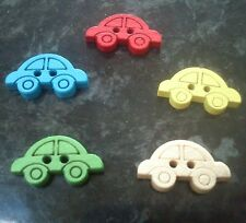 20 x Bright Coloured Car Shaped Wooden Buttons - various colours - 19mm x 11mm