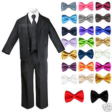 Baby Toddler Boy Black Formal Wedding Party Suit Tuxedo + Color Bow Tie S-7