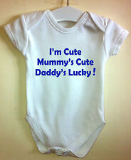 I'M CUTE MUMMY'S CUTE BABY BODY GROW SUIT VEST GIRL BOY CLOTHES GIFT IDEA FUNNY