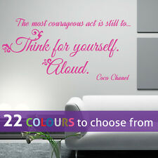 THINK for YOURSELF Coco Chanel quote CC girls fashion wall sticker art bedroom