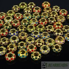 Big Hole Crystal Rhinestone Pave Gold Rondelle Spacer Beads Fit European Charm