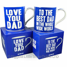 New LOVE YOU or BEST DAD MUG CUP Gift Boxed Fathers Day Christmas Birthday 2 DES